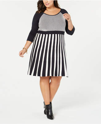124d9cb065e NY Collection Plus Size Striped Sweater Dress