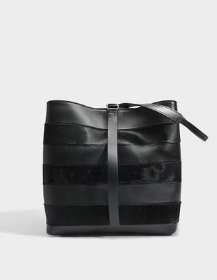 Proenza Schouler Frame Shoulder Bag in Black Patchwork Stripes