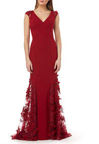 Cap-Sleeve Crepe Trumpet Gown with 3D Floral Mesh Detail
