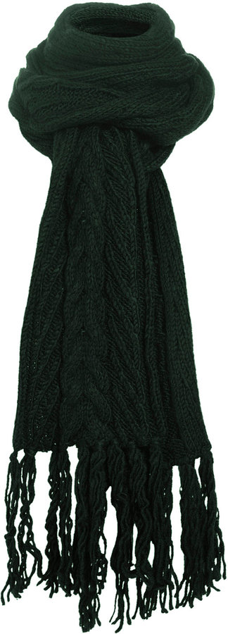 Green Skinny Cable Scarf