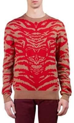 Alexander McQueen Wool Tiger-Skull Crewneck Sweater