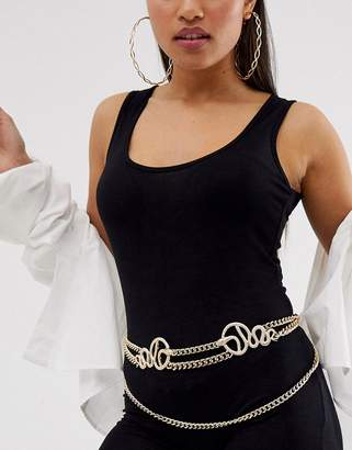 Asos Design DESIGN snake chain waist and hip belt