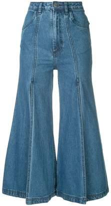 Pony Stone slit flared jeans