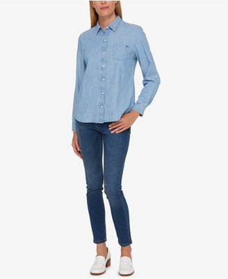 Tommy Hilfiger Cotton Chambray Utility Shirt, Created for Macy's $59.50 thestylecure.com