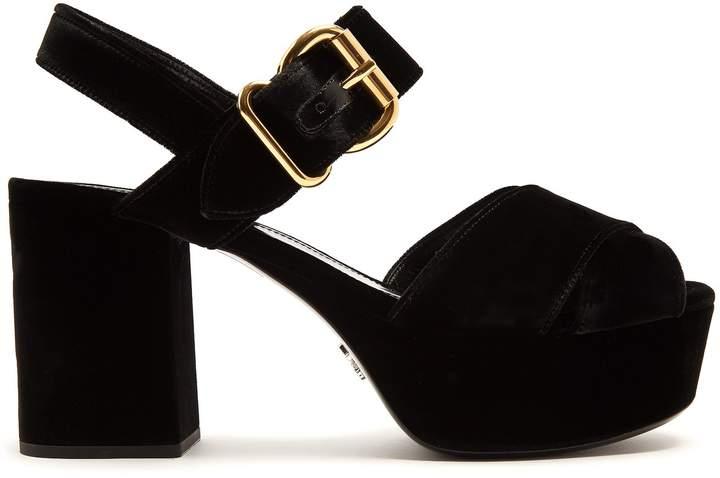 PRADA Cross-strap velvet platform sandals