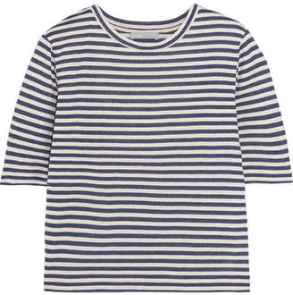 Vince - Striped Silk-blend Jersey T-shirt - Navy $125 thestylecure.com