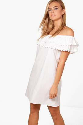 boohoo Pearl Lace Off Shoulder Shift Dress
