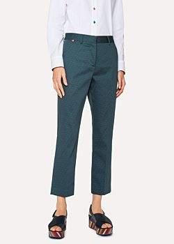 Paul Smith Women's Slim-Fit Petrol 'Geometric Flower' Print Cotton-Blend Trousers