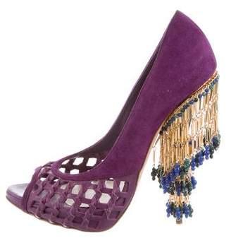 Christian Dior Suede Peep-Toe Pumps