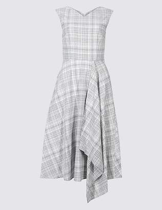 Marks and Spencer Cotton Rich Checked Cap Sleeve Skater Dress