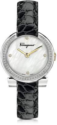 Salvatore Ferragamo Gancino Stainless Steel and Diamonds Women's Watch w/Black Croco Embossed Strap