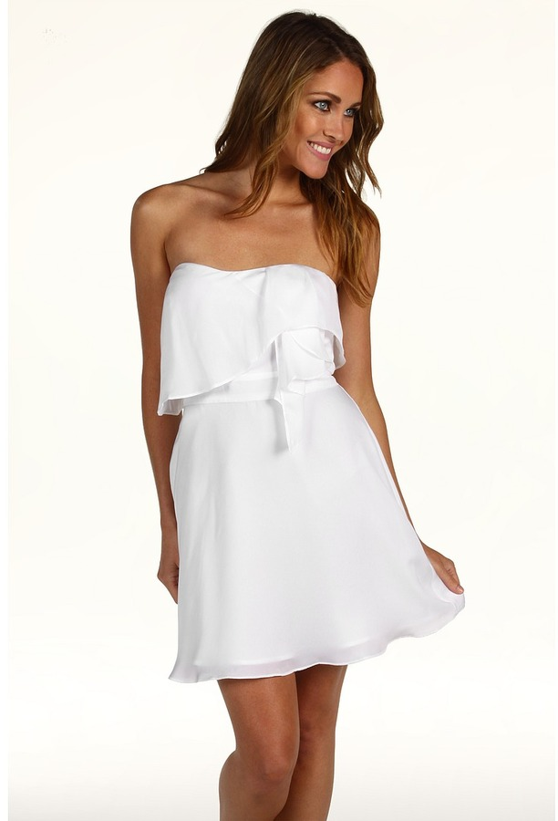 BCBGeneration Flounce Bodice Strapless Dress (White) - Apparel