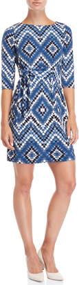 Sandra Darren Petite Printed Elbow Length Dress