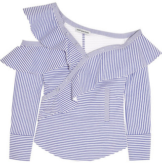 Self-Portrait - Off-the-shoulder Ruffled Striped Cotton-poplin Top - Light blue $410 thestylecure.com