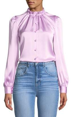 Co Cinched-Neck Long-Sleeve Satin Blouse