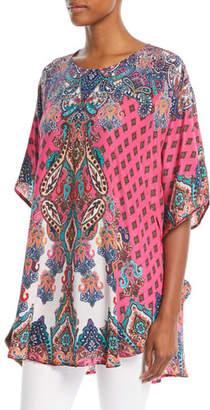 Tolani Narissa Printed Silk Tunic , Plus Size