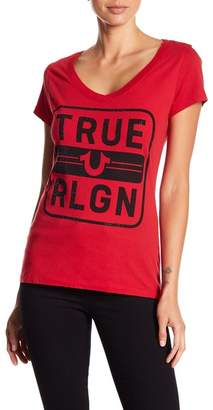 True Religion Rounded V-Neck Rhinestone Embellished Tee
