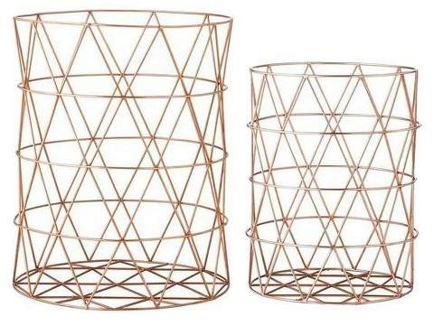 3R Studios Metal Baskets with Copper Finish - Set of 2