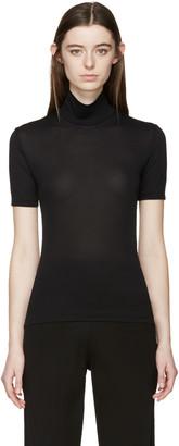 Yohji Yamamoto Black Short Sleeve Turtleneck $290 thestylecure.com