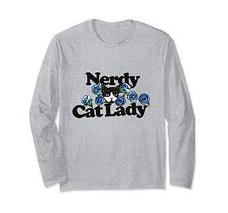 Caterpillar Nerdy Cat Lady long sleeve shirt blue rose artwork tuxedo