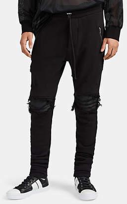 Amiri Men's MX1 Leather-Inset Cotton Sweatpants - Black