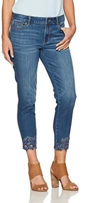 Denim Crush Women's Ankle Embroidered Skimmer Jean 2