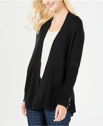 Charter Club Mixed-Knit Button-Trim Cardigan