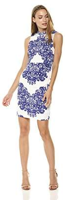 Adrianna Papell Women's Lace Printed Mock Neck Sleeveless Dress