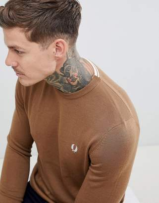 Fred Perry crew neck merino knitted sweater in camel