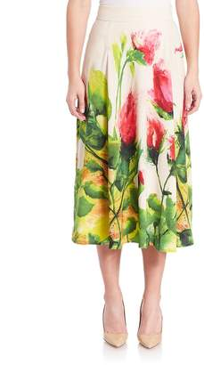 Escada Women's Floral-Print Midi Skirt