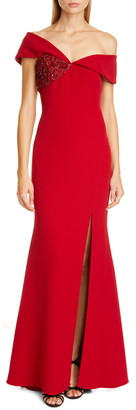 Badgley Mischka Asymmetrical Off the Shoulder Gown