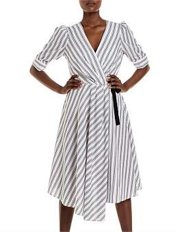 Studio.W Striped Asymmetric Wrap Dress