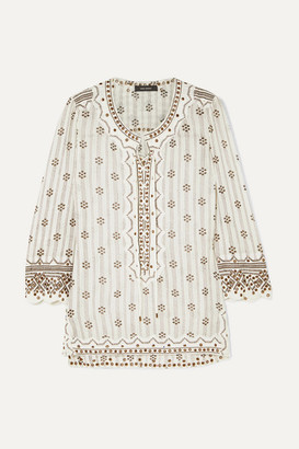 663cfed56c9 Isabel Marant Alicia Lace-up Embellished Printed Cotton-gauze Tunic - White