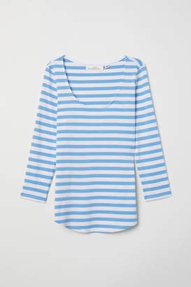 H&M Low-cut Jersey Top - White