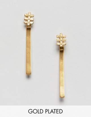 Pilgrim gold plated drop bar earrings