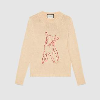 Gucci Cotton knit sweater with lamb