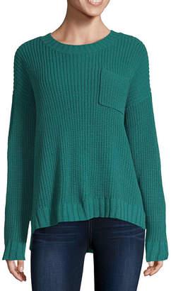 Arizona Womens Crew Neck Long Sleeve Striped Pullover Sweater-Juniors