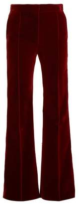 Pallas X Claire Thomson Jonville X Claire Thomson-jonville - Digital Flared Velvet Trousers - Womens - Dark Red