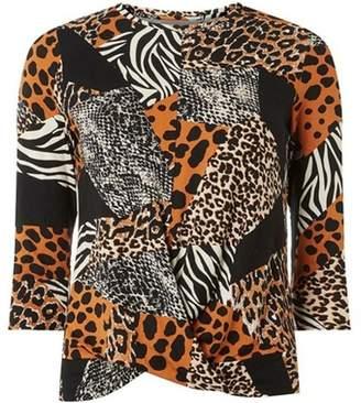 Dorothy Perkins Womens Petite Multi Coloured Animal Print Jersey Top