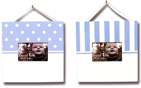 Trend Lab Frame Set of Two - White/Blue Stripe