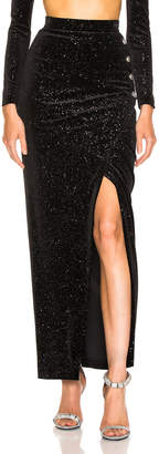 Balmain Star Speckled Midi Skirt in Black & Silver | FWRD