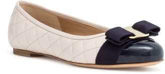 Salvatore Ferragamo Varina quilted off white jasmine leather navy patent ballerinas