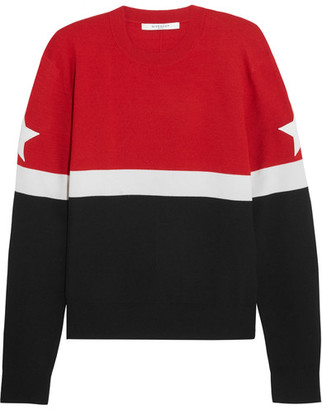 Givenchy - Appliquéd Striped Wool-blend Sweater - Red