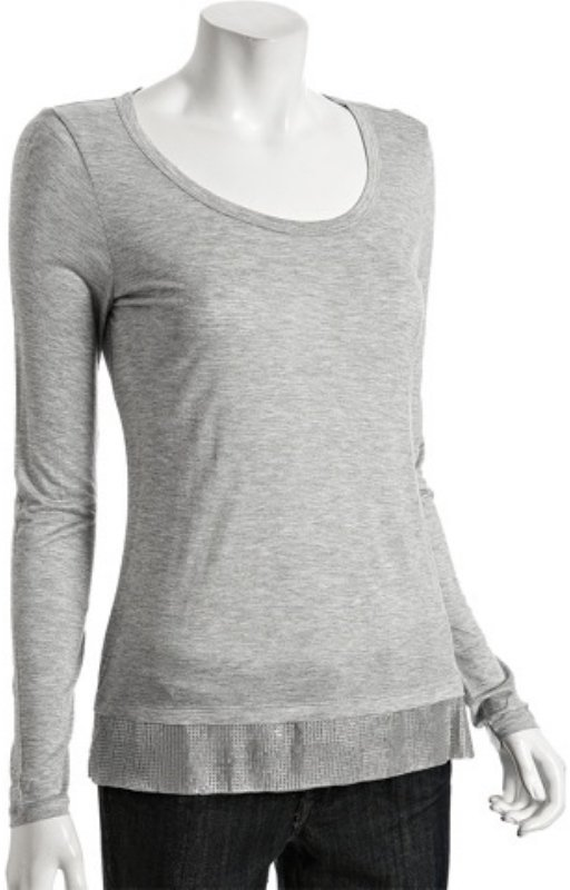 MICHAEL Michael Kors grey heather jersey sequin hem top
