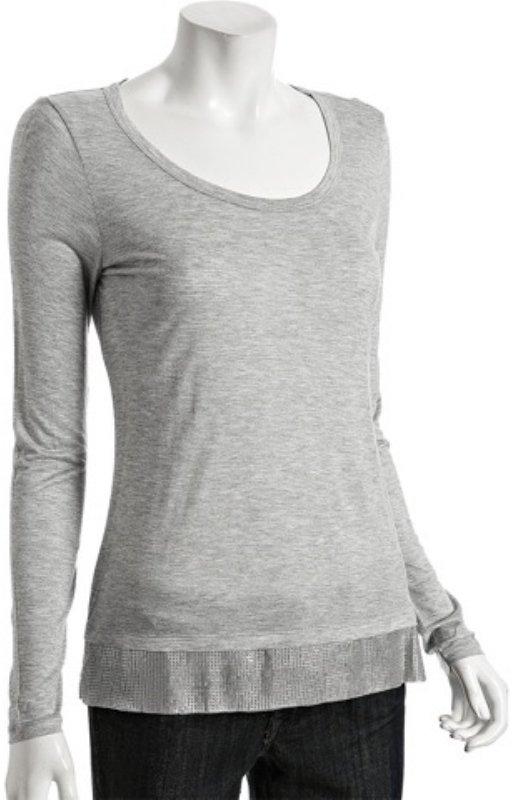 MICHAEL Michael Kors grey heather jersey sequin hem top