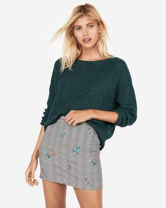 Express High Waisted Floral Embroidered Mini Skirt