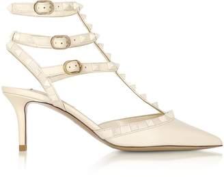 Valentino Rockstud Ivory Leather Ankle Strap Pumps