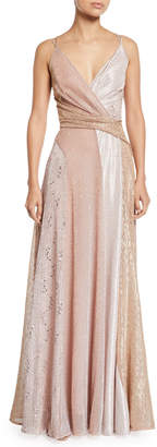 Talbot Runhof V-Neck Sleeveless Colorblock Sequined A-Line Evening Gown