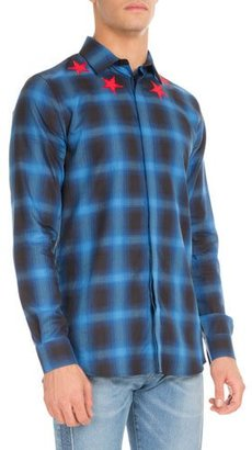 Givenchy Plaid Star-Embroidered Button-Front Shirt, Blue $685 thestylecure.com