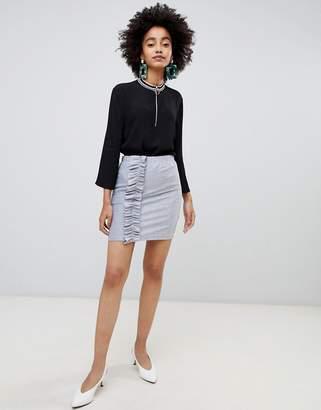 Soaked In Luxury Metallic Skirt With Ruffle